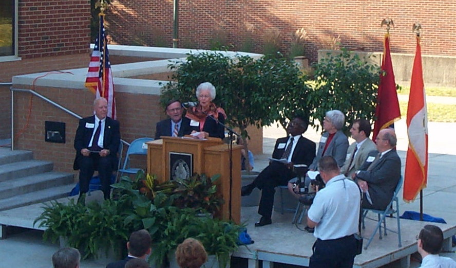 Margaret Montgomery, sister of the late Dr. Burchfiel, speaks at the building's dedication