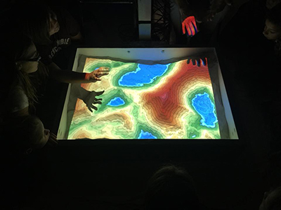Students learn about the AR Sandbox