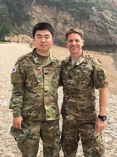 ROK Army SGT Bae and Matt Miller on a joint mission on Baengnyeong Island, Republic of Korea.