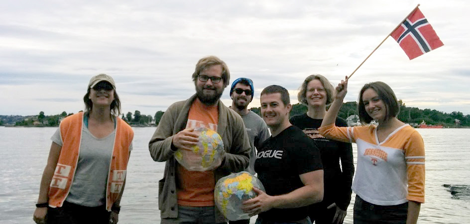 Students in Professor Micheline Van Riemsdijk's Age of Migration study abroad course. From left to right are Darcy Ayers, William Oaks, Ian Constantinos, Steven Guerrera, Micheline Van Riemsdijk, and Alex Webb.