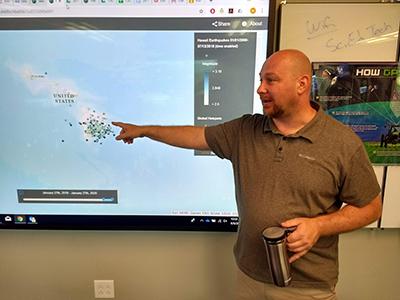 Brian Smith, Jefferson Middle School teacher, presents during a teacher professional development workshop on geospatial technologies at Oak Ridge Associated Universities in 2019.
